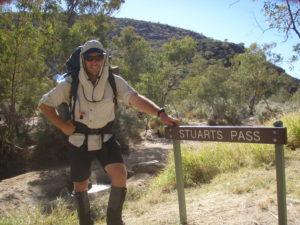 Scott has an intimate passion and knowledge of the early European explorers of Australia. Here he stands at Stuarts Pass, acknowledging the path taken by the first man to make it from South to North in Australia, John MacDowell-Stuart.